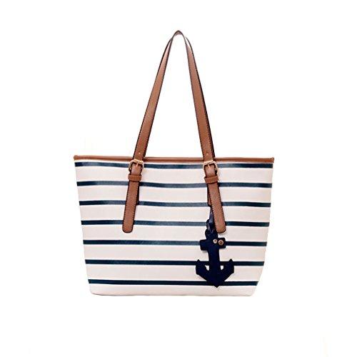 Fairysan Casual Navy Stripes Tote Shopper Reuseable Shoulder Handbags Navy Blue