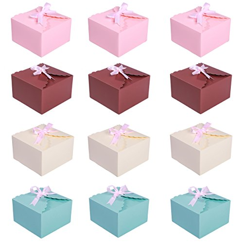MissShorthair Gift Boxes,12 Pack Solid Color Decorative Boxes for Small Gifts,Favor Boxes for Christmas,Wedding,Birthday,Party,Holidays