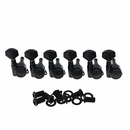 Dopro Black Locking Guitar Tuners 6 Inline Tuning Keys Machine Heads Korea Made