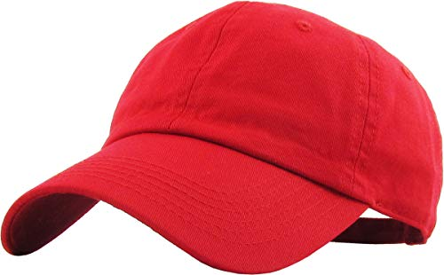 KB-LOW RED Classic Cotton Dad Hat Adjustable Plain