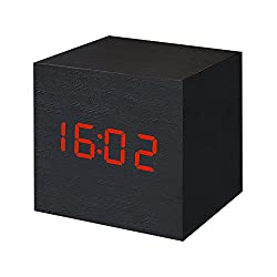 Digital Alarm Clock Wooden LED Light Clock Multifunctional with USB Charging Cable Time Date Temperature Adjustable Brightness Cute for Travel Home Office (Black) by EWTTO