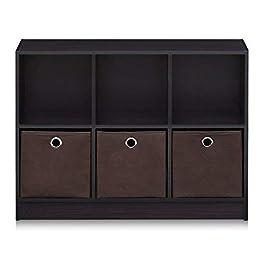 Furinno 99940WH/LBL Basic 3×2 Cubic Bookcase Storage Shelves, White/Light Blue