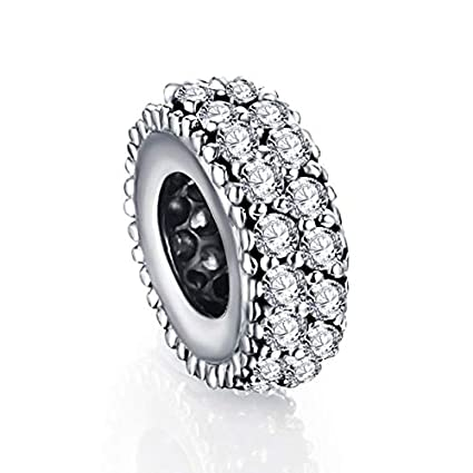 4607b6876 Image Unavailable. Image not available for. Color: Ochoos Suplush 100% 925  Sterling Silver Spacer Charm Beads Fit Original ...