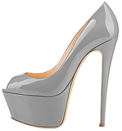 Calaier Damen Casit 16CM Stiletto Schlüpfen Sandalen Schuhe Grau