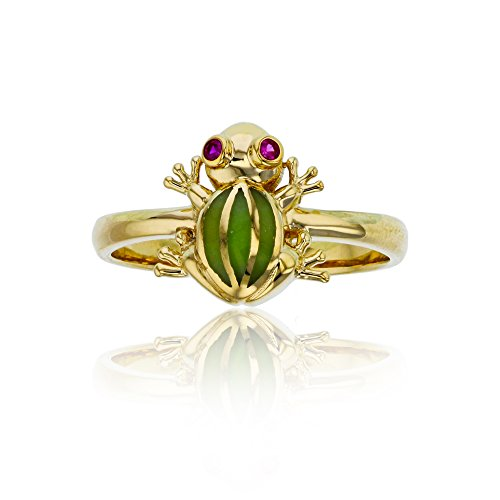 - Decadence 14K Yellow Gold Red Ruby Frog Fashion Ring
