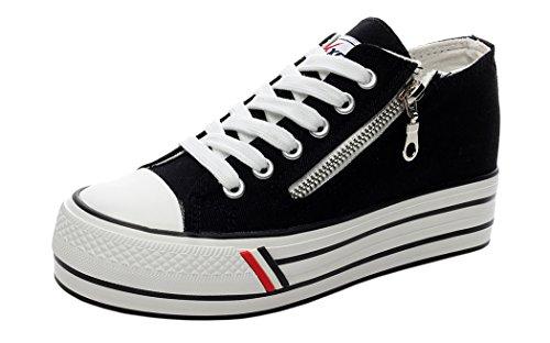 XIAXIAN Platform Zipper Decorated Canvas Vamp Casual Shoes(4.5 B(M) US, Black)