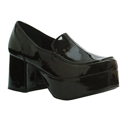 MENS SIZING 3 Inch Pimp shoes Chunk Heel Stacked Platform Loafers Size: Medium Colors: Black - Mens Black Pimp Shoes