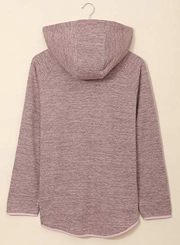 Dokotoo Womens Button Collar Drawstring Stitching Sweatshirts Hoodies Pullover