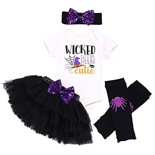 Infant Baby Girl Halloween Outfits 4Pcs Bows Tulle Skirt Headband Leg Warmer Romper Clothes Set 3-6 Months Purple