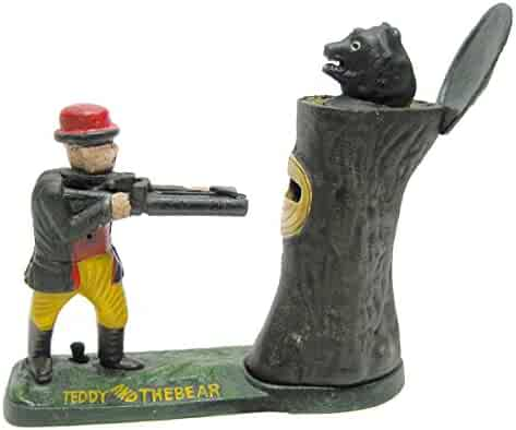 Design Toscano Teddy and the Bear Collectors' Die Cast Iron Mechanical Coin Bank