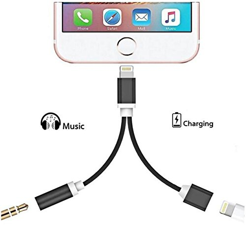2 in 1 Lightning Cable 3.5mm Headphone Jack,Lightning Charging 3.5mm Headphone Adapter,Adapter for iPhone 7 / 7 Plus/ 8/ 8 Plus / X adapter-Black