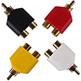 Yueton 4pcs RCA Y Splitter Adapter 2 Female to 1 Male for Audio Video Av Tv Cable Convert