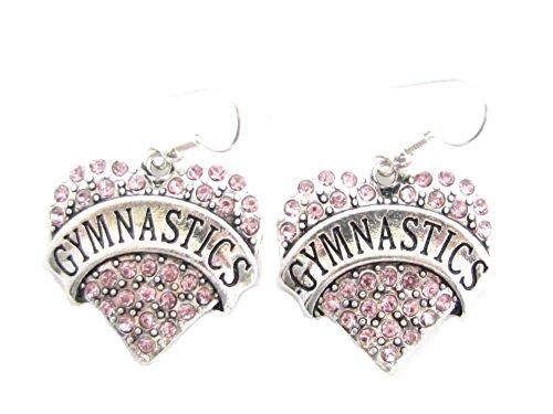 Gymnastics Heart Pink Crystals Silver French Hook Earrings