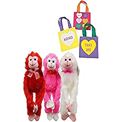 "Plush Valentine's Day Monkey Love Hanging Monkeys, 12"" (Set of 3) Plus Bonus Valentines Day Magic Color Scratch Hearts Craft!"