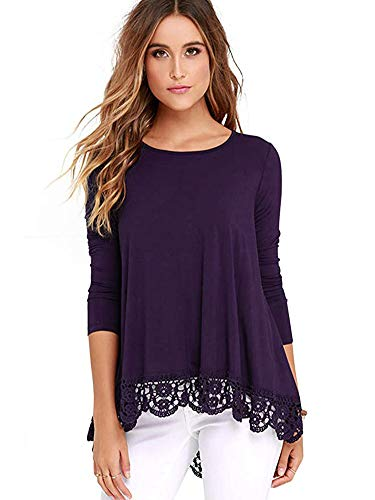 iRealy Women Long Sleeve Tunic Tops Lace Hem T Shirt Dress Loose Fit O Neck Dressy Blouse Purple