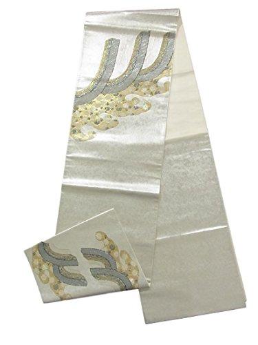 置換正確なブレイズリサイクル 袋帯  波に菊唐草 螺鈿箔 正絹 お太鼓柄