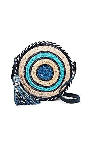 Rebecca Minkoff Women's Straw Circle Cross Body Bag, Blue Multi, One Size