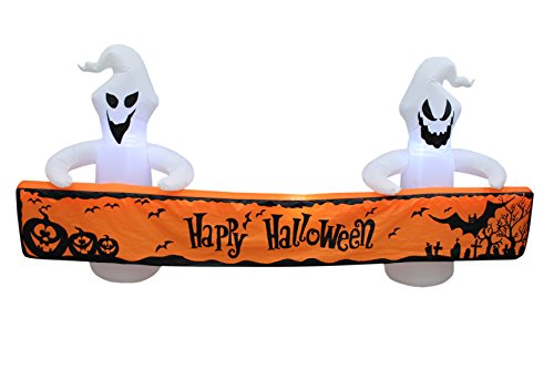 8 Foot Long Lighted Halloween Inflatable White Ghosts with Orange Banner LED Lights Decor Outdoor Indoor Holiday Decorations, Blow up Lighted Yard Decor, Giant Lawn Inflatables Home Family Outside]()