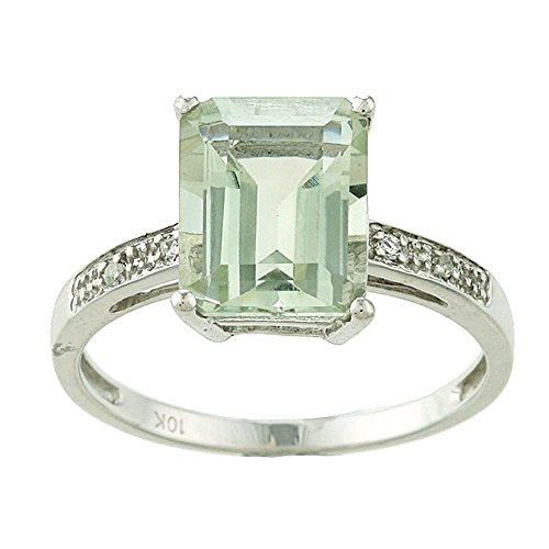 Instagems 10k White Gold Emerald-Cut Green Amethyst and Diamond Ring (Green Amethyst And Diamond Ring)