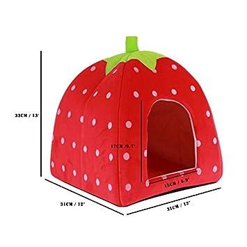 Sunsbell Gato Plegable Caseta de Perro cálido colchón en Forma de Esponja de la Fresa Perro de Mascota Casa Nido: Amazon.es: Productos para mascotas