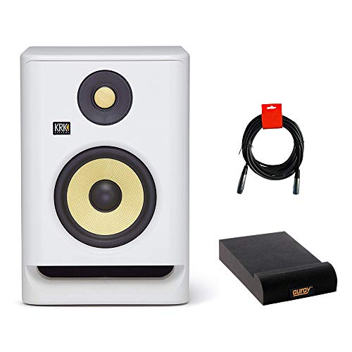 "KRK RP5 Rokit 5 G4 Pro Bi-Amp 5"" Powered Studio Monitor (White Noise) Bundle with Isolation Pad & XLR Cable"