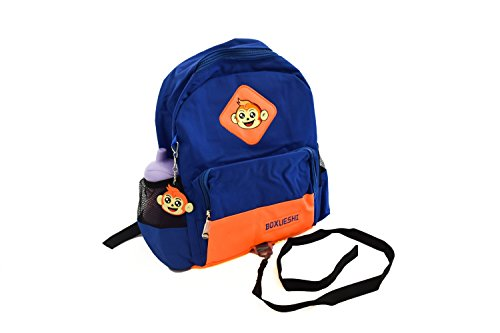 Safety Leash Backpack for Toddlers - Cute Monkey Harness Perfect for Zoo - Safe in Style - Waterproof Orange/Blue