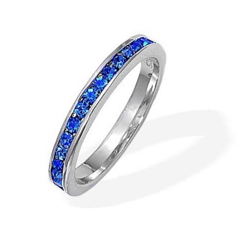 Bling Jewelry 925 Sterling Silver Simulated Sapphire CZ September Birthstone Eternity Ring