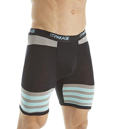 MYPAKAGE HERREN 's Premium Yarn Dye Boxer Brief S Teal Stripe