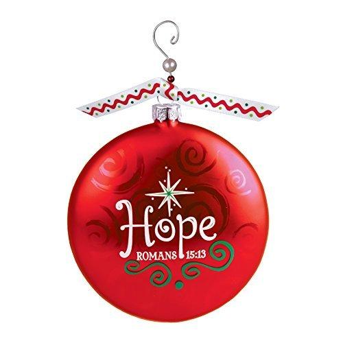 Red Hope Romans 15:13 Beaded Swirl 4 inch Glass Ball Christmas ()
