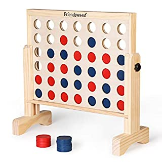 A11N 4-in-a-Row Game with Carrying Bag | Oversized 20x20 inch Board | Premium Wooden 4 Connect Game for Family Fun