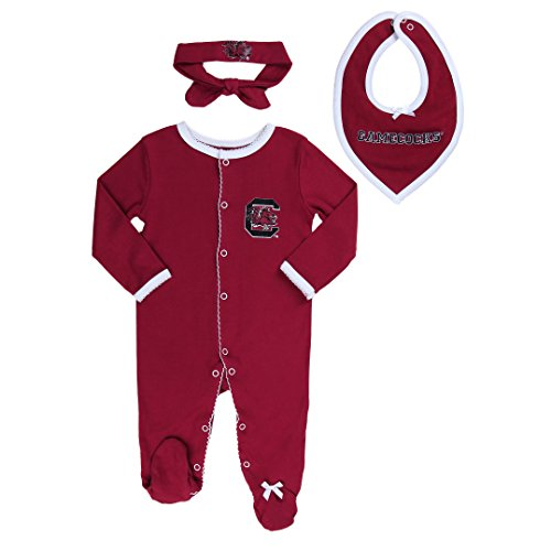 FAST ASLEEP South Carolina Gamecocks Baby Girl (3pc) Footie, Bib and Hat Set (3-6 ()