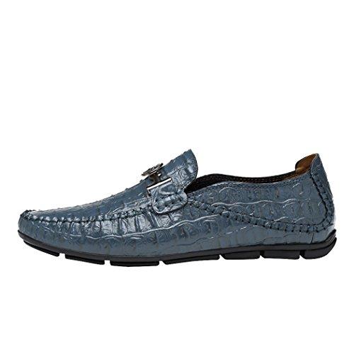Snowman Lee Men's Premium Leather Loafers Fashion Crocodile Pattern Casual Slip-on Driving Shoes Blue 8 M - Outlets Premium Lee