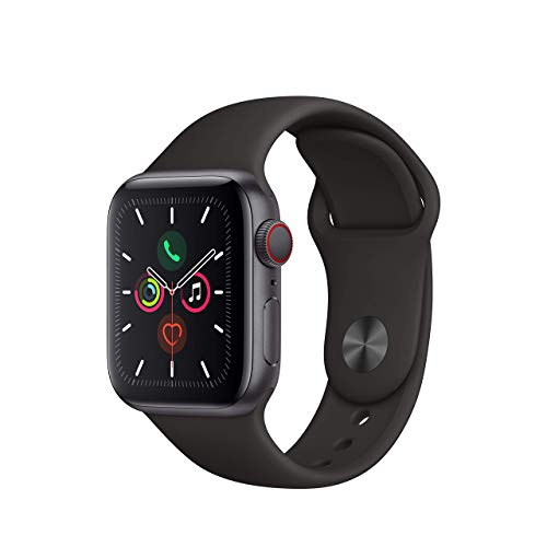 Apple Watch Series 5 (GPS + Cellular, 40MM) - Stainless Steel Case with Black Sport Band (Renewed)