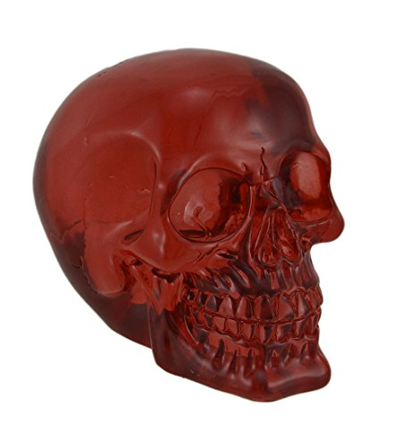 Zeckos Clear Red Translucent Grinning Human Skull Statue 6 inch ()