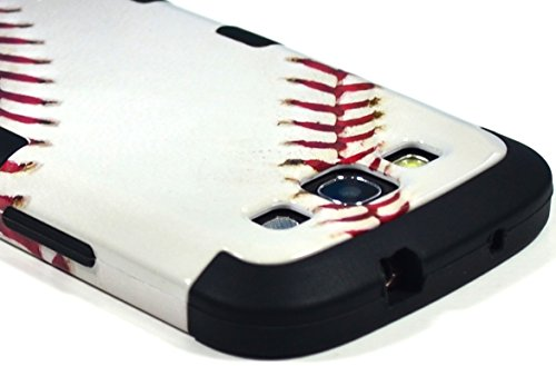 Bastex Hybrid Baseball Game Case for Samsung Galaxy S3 I9300, I747 - White with Red Stitch and Coal Black Soft Silicone Shell
