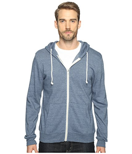 Threads 4 Thought Men's Sustainable Triblend Zip Front Hoodie, China Blue, Medium