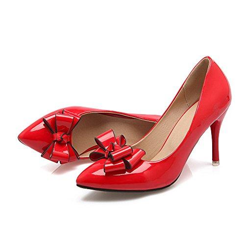 Donne Vernice Chiuse Alti Estraibili Rossi In Weenfashion Solide Rilevato scarpe Su Pompe Delle Tacchi EpqPzE