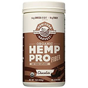 Manitoba Harvest Organic Hemp Pro Fiber Protein Powder, Chocolate, 16oz; with 10g of Fiber & 8g Protein per Serving, Preservative-Free