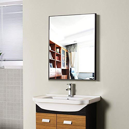 Hans & Alice Large Rectangular Bathroom Mirror, Wall-Mounted Wooden Frame Vanity Mirror -