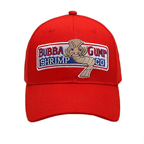 Okaeienen Adjustable Bubba Gump Baseball Cap Shrimp CO. Embroidered Snapback Hats (Red) -