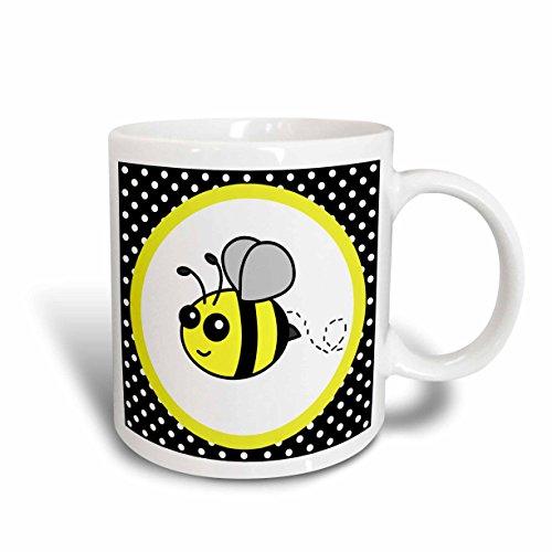 Bumble Bee Mug - 3dRose mug_57078_2 Cute Yellow Bumble Bee on Black & White Polka Dots Ceramic Mug, 15 oz, White