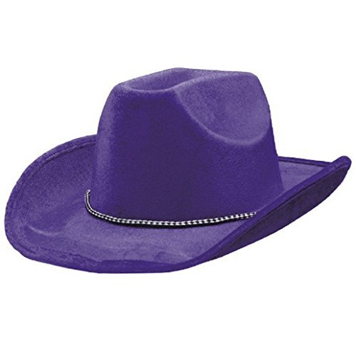 [Party Ready Team Spirit Velour Cowboy Hat Accessory, Purple, Fabric , 5