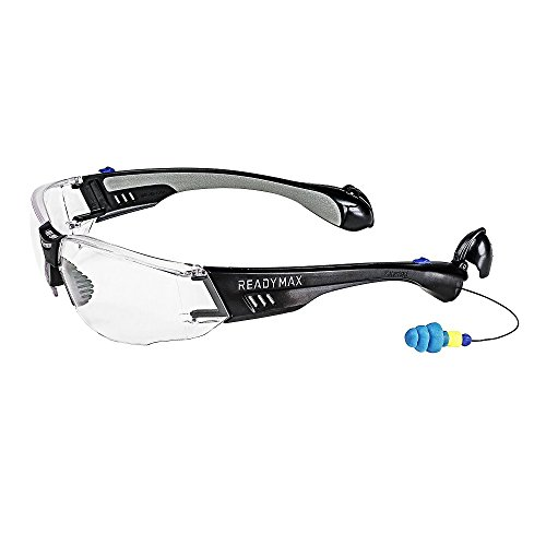 ReadyMax SoundShield Construction Style, Black Frame, Clear Anti-Fog, Scratch Resistant Safety Glasses w/Built in Hearing Protection