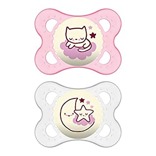 MAM Night Pacifiers (2 Pack, 1 Sterilizing Pacifier Case), MAM Pacifiers 0-6 Months, Best Pacifier for Breastfed Babies, Glow in the Dark Pacifier, Baby Girl Pacifier