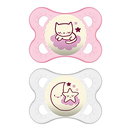 MAM Night Pacifiers (2 Count), MAM Pacifiers 0-6 Months, Best Pacifier for Breastfed Babies, Glow in the Dark Pacifier, Pink and White from MAM