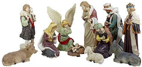 LB International 11-Piece Christmas Religious Nativity Figurine Set