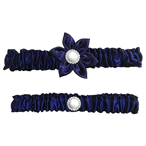Unibuy Wedding Garter Set with Navy Blue Silk Flower Add Vintage Pearls (Something Blue Garter Set)