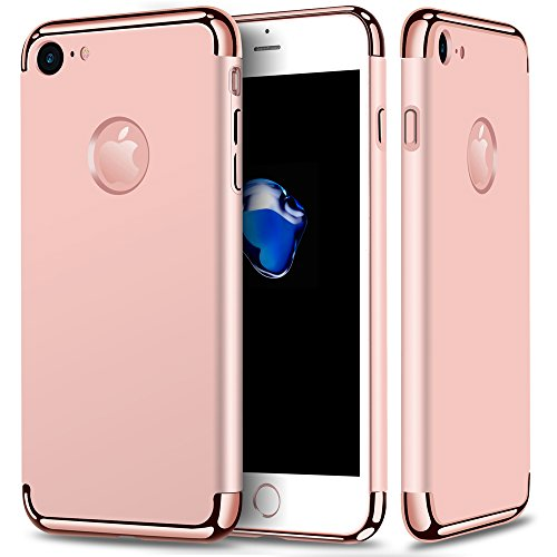 iPhone 7 Case, KAMII 3 In 1 Ultra Thin Slim PC Hard Shockproof Protective Luxury 360 Degree Full Body Protection Case Cover with Electroplate Frame&Smooth Surface for Apple iPhone 7(Rose Gold)