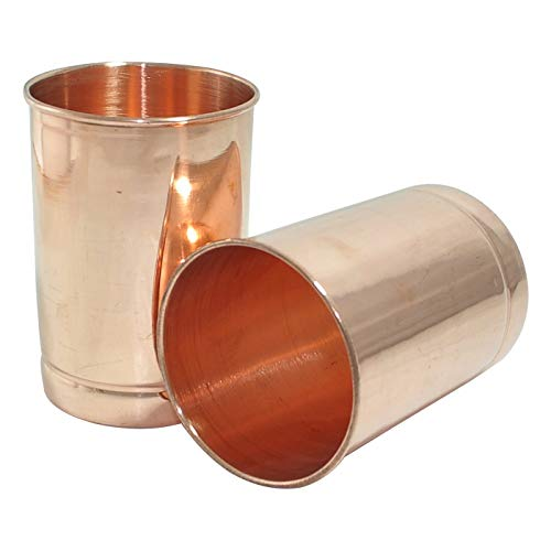 (Pure Copper Tumbler Set of 2 | Copper Glasses | 250 Ml (8.4 US Fluid Ounce) | For Storing and Drinking Water for Health Benefits of Ayurveda By GoodsHealthShop)