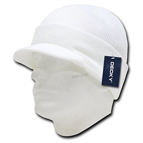 DECKY Classic Snug Fit Soft Knit Pre Curved Visor Jeep Cap_White_One Size